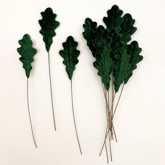 Set of 12 Petite Velvet Oak Leaves ~ DARK GREEN