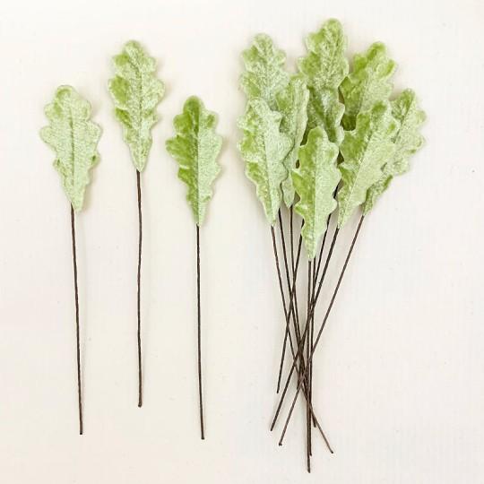 Set of 12 Petite Velvet Oak Leaves ~ PALE GREEN