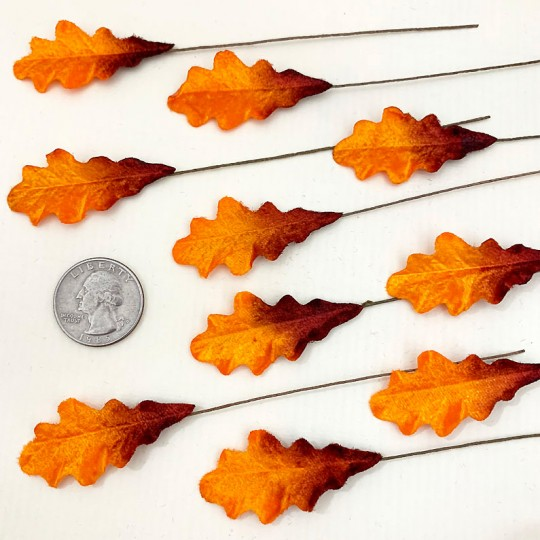 Set of 12 Petite Velvet Oak Leaves ~ AUTUMN OMBRE