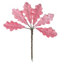 Set of 6 Petite Velvet Oak Leaves ~ PINK
