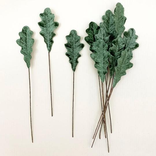 Set of 12 Petite Velvet Oak Leaves ~ SAGE GREEN