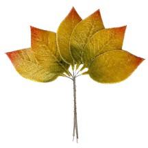 Set of 6 Velvet Golden Green Ombre Leaves ~ Czech Repub.