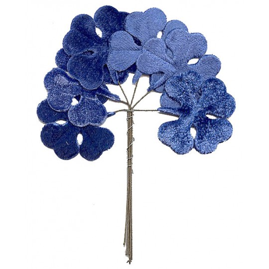 Set of 6 Blue Velvet Shamrocks ~ Clover Leaves ~ Czech Repub.
