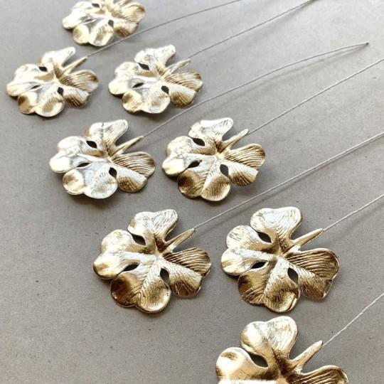 Set of 8 Pale Gold Foil Paper Shamrocks ~ Clover Leaves ~ Czech Repub.