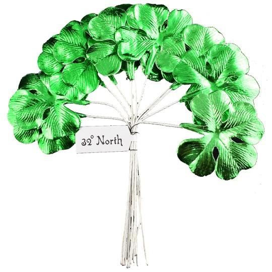 Set of 8 Green Foil Paper Shamrocks ~ Clover Leaves ~ Czech Repub.