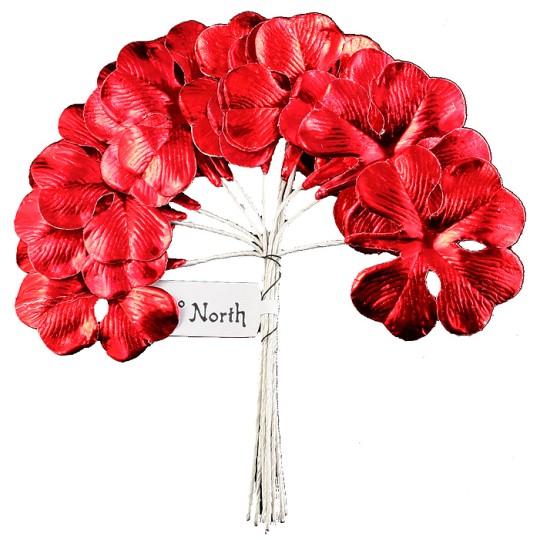 Set of 8 Red Foil Paper Shamrocks ~ Clover Leaves ~ Czech Repub.
