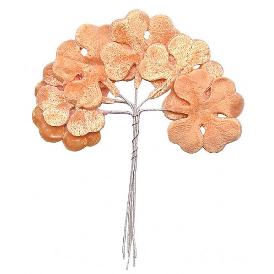Set of 6 Peach Velvet Shamrocks ~ Clover Leaves ~ Czech Repub.