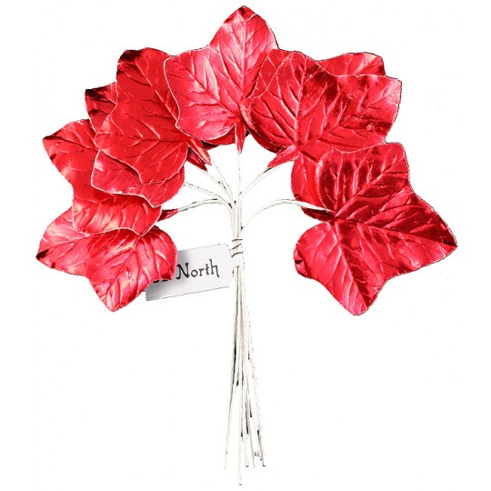 Set of 8 Red Foil Ivy Leaves ~ Czech Repub.
