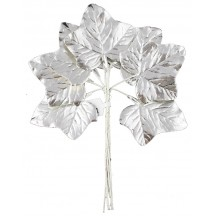 Set of 8 Silver Foil Ivy Leaves ~ Czech Repub.