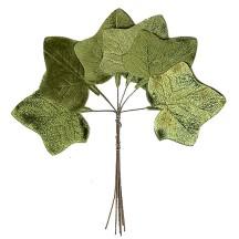 Set of 6 Green Velvet Ivy Leaves ~ Czech Repub.