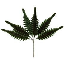 Set of 6 Dark Green Velvet Long Fern Leaves ~ Czech Repub.