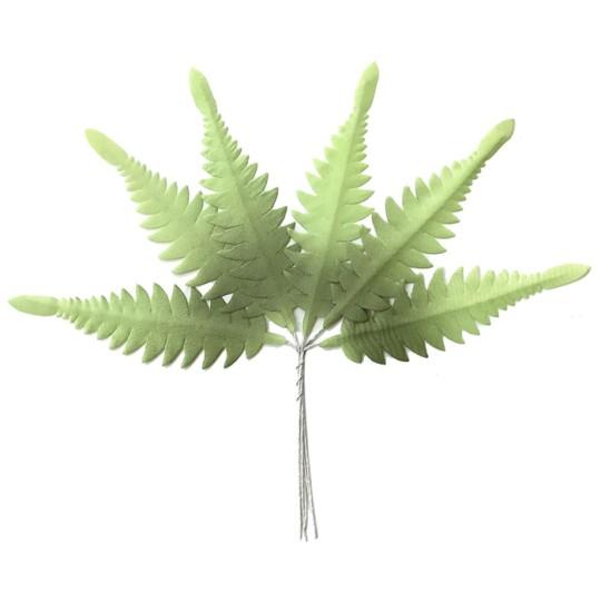 Set of 6 Green Ombre Fabric Long Fern Leaves ~ Czech Repub.