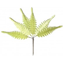Set of 6 Pale Green Velvet Long Fern Leaves ~ Czech Repub.