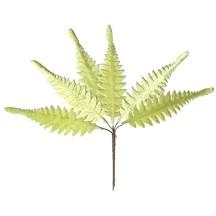 Set of 6 Pale Green Velvet Long Fern Leaves ~ Czech Repub.