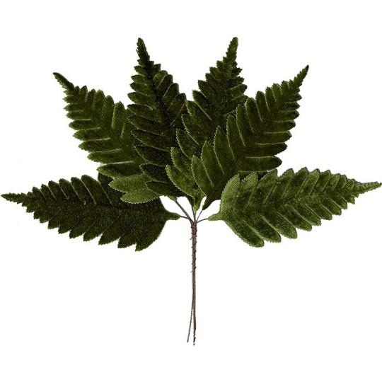 Set of 6 Large Dark Green Velvet Fern Leaves ~ Czech Repub.