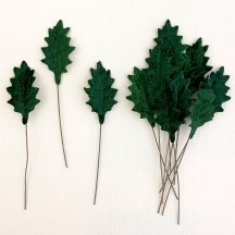 Set of 12 Petite Velvet Holly Leaves ~ DARK GREEN
