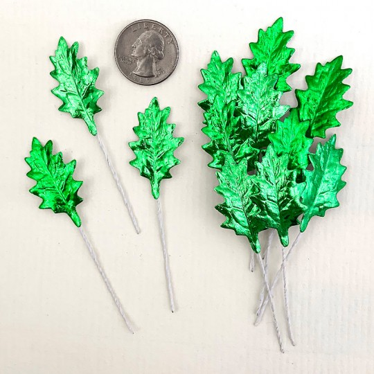 Set of 12 Petite Foil Holly Leaves ~ GREEN