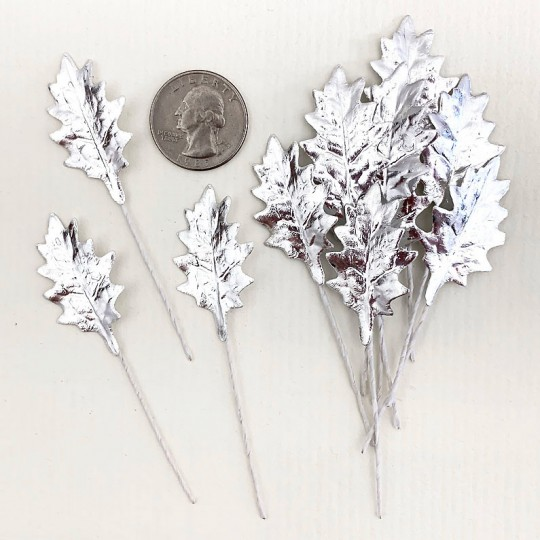 Set of 12 Petite Foil Holly Leaves ~ SILVER