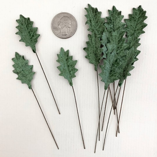 Set of 12 Petite Velvet Holly Leaves ~ SAGE GREEN