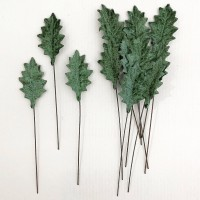 Set of 12 Petite Velvet Holly Leaves ~ SAGE GREEN