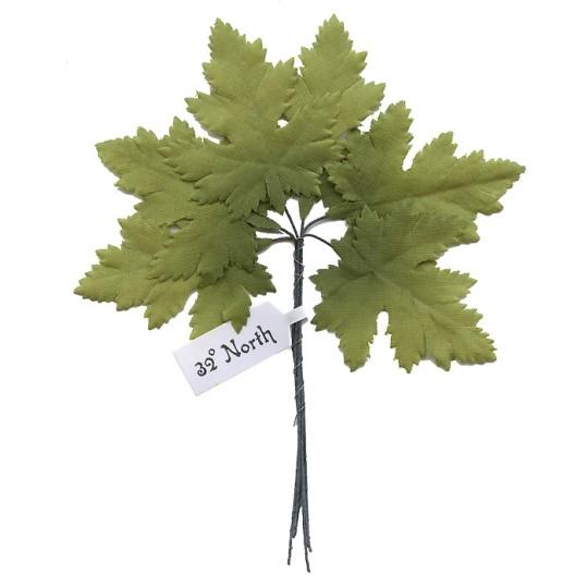 Set of 6 Green Matte Fabric Maple Leaves ~ Czech Repub.