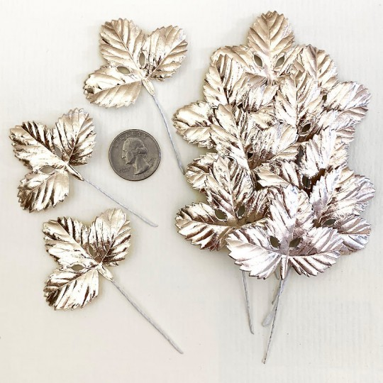 Set of 12 Foil Paper Strawberry Leaves ~ PALE GOLD