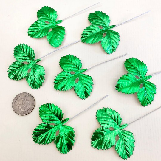 Set of 12 Foil Paper Strawberry Leaves ~ GREEN