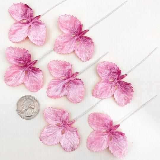 Set of 12 Velvet Strawberry Leaves ~ MIXED PINK