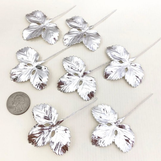 Set of 12 Foil Paper Strawberry Leaves ~ SILVER