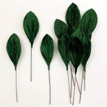 Set of 12 Small Velvet Pear Leaves ~ DARK GREEN
