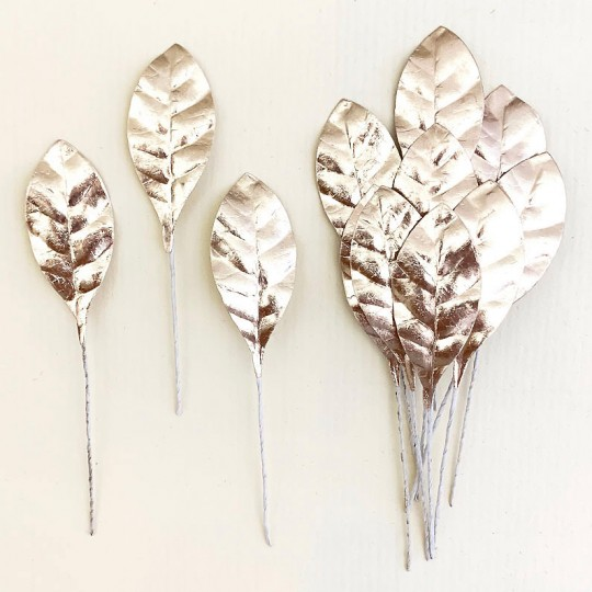 Set of 12 Small Foil Pear Leaves ~ PALE GOLD