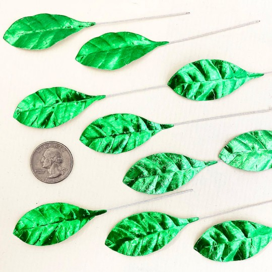 Set of 12 Small Foil Pear Leaves ~ GREEN