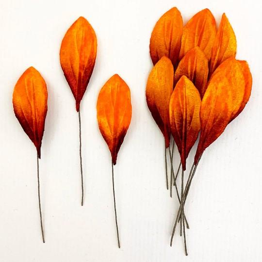 Set of 12 Small Velvet Pear Leaves ~ AUTUMN OMBRE