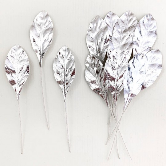 Set of 12 Small Foil Pear Leaves ~ SILVER