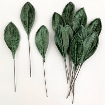 Set of 12 Small Velvet Pear Leaves ~ SAGE GREEN