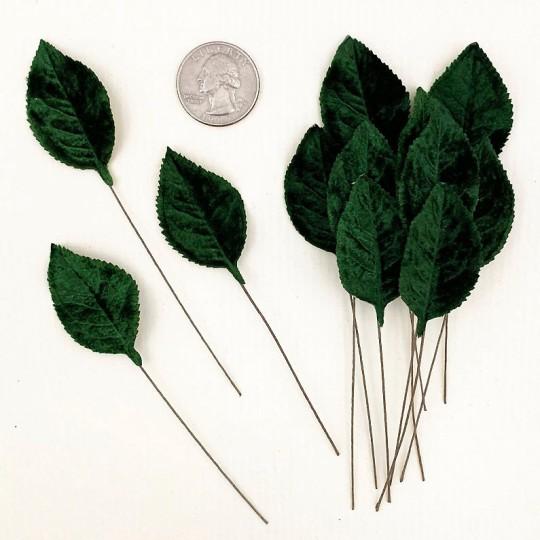 Set of 12 Velvet Rose Leaves ~ DARK GREEN