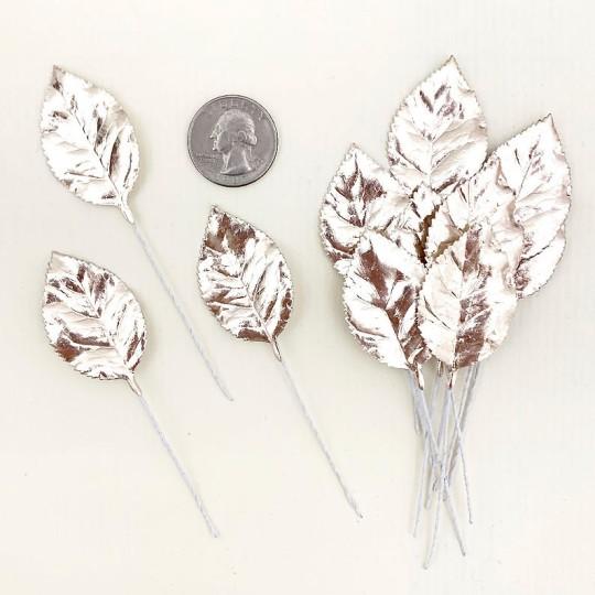 Set of 12 Foil Paper Rose Leaves ~ PALE GOLD