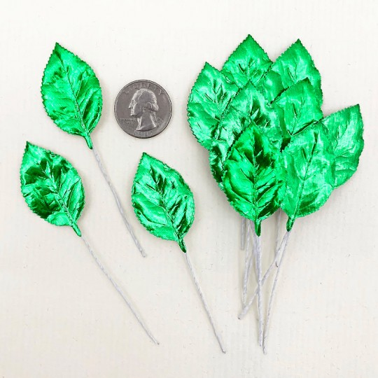 Set of 12 Foil Paper Rose Leaves ~ GREEN