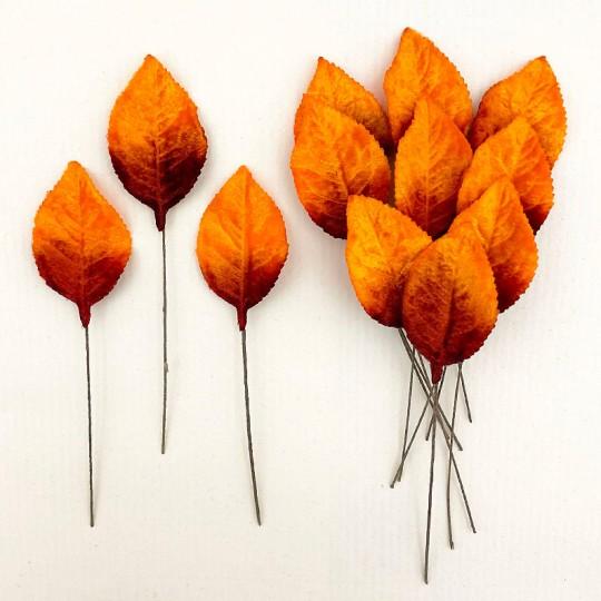 Set of 12 Velvet Rose Leaves ~ AUTUMN OMBRE