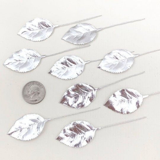 Set of 12 Foil Paper Rose Leaves ~ SILVER