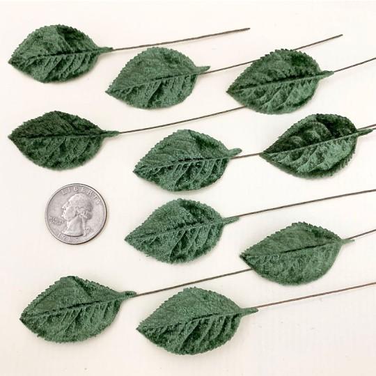 Set of 12 Velvet Rose Leaves ~ SAGE GREEN