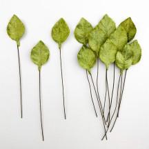 Set of 12 Petite Velvet Rose Leaves ~ MEDIUM GREEN