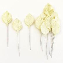 Set of 12 Petite Velvet Rose Leaves ~ PALE YELLOW