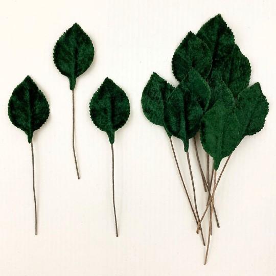 Set of 12 Petite Velvet Rose Leaves ~ DARK GREEN