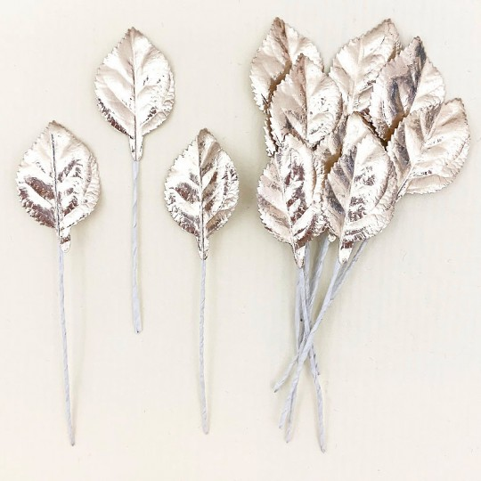 Set of 12 Foil Paper Petite Rose Leaves ~ PALE GOLD