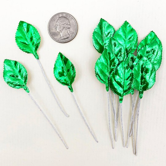 Set of 12 Foil Paper Petite Rose Leaves ~ GREEN
