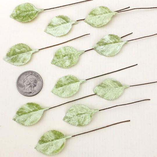 Set of 12 Petite Velvet Rose Leaves ~ PALE GREEN
