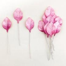 Set of 12 Petite Velvet Rose Leaves ~ MIXED PINK