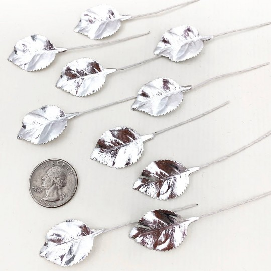 Set of 12 Foil Paper Petite Rose Leaves ~ SILVER