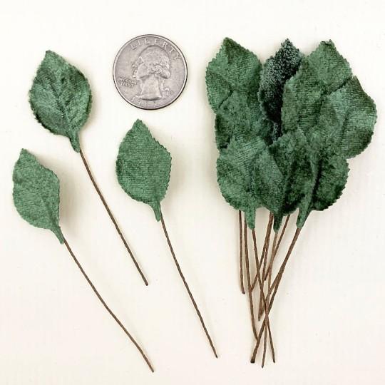 Set of 12 Petite Velvet Rose Leaves ~ SAGE GREEN